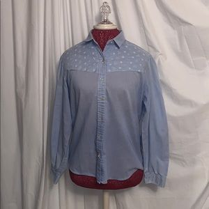 Blue and white patterned Wrangler top